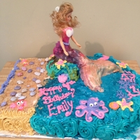 Barbie Mermaid tail done with rice krispie treat and fondant
