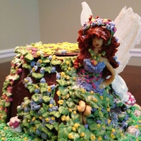Fairy Wishes Tree stump fairy house, chocolate cake decorated with royal icingFairy is made out of fondant