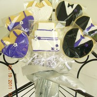 Wedding Cookie Bouquet Cookie bouquet for wedding with gowns/tuxes to match wedding day attire.