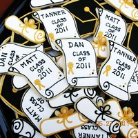 Graduation Cookie Platter Cookie for HS graduates. The personalized scrolls were made with the beach blanket cookie cutter.