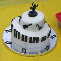 Topsy Turvy Piano Keys Cake This cake was for my nephew's school band party. Instruments around the top tier, conductor on top, piano keys around bottom tier....
