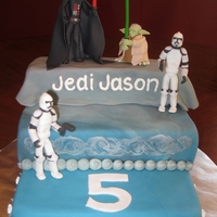Star Wars Birthday Cake I made this cake for my son's 5th birthday. The figures are made out of fondant, and the cake is three tiered layers covered in...