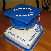 High School Graduation Cake  bottom tier almond pound cake, top tier chocolate cake with buttercream icing, fondant decorations, mortar board made with cardboard...