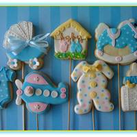 Baby?s Cookies   Now I made baby?s cookies in blue. Royal icing and fondant.