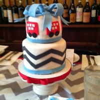 "Double Decker Bus Baby Shower Two tiered 4""and 6"" WASC with buttercream dream filling covered in MMF for a friend's double decker bus themed baby shower..."