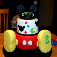 Mickey Mouse Clubhouse RKT shoes covered in fondant and the head is 1/2 a styrafoam ball covered in fondant with fondant ears.