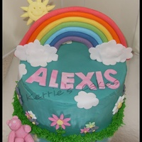 Rainbow Raspberry Vanilla cake with BC. All decorations are fondant