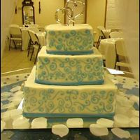 Tiffany Blue Swirls White cake with buttercream frosting and tiffany blue swirls thanks for looking