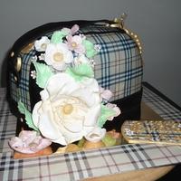 Burberry Purse Birthday Plaid,Plaid,Plaid, and lots of flowers...on the cake,EI's and fondant/gumpaste...and edible gift tag too
