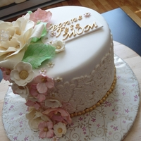 Bonne Fete Mom! white cake..with some gold ...and flowery! for a friend's mother's birthday..,
