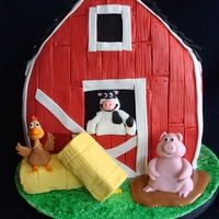 """barnyard"" Birthday Cake Everything is edible, I also made a pig smash cake, this was for a 1st bday."