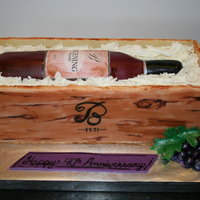 "Wine Bottle And Crate Cake All cake except for the crate which is made of decorated cookies. Approximately 14"" long by 5"" wide and 4"" tall. I started..."