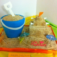 "Sand Castle/ Sand Bucket Cake Made for a beach themed teacher appreciation celebration. Bucket made from 2, 7"" round and 1, 6"" round torted, filled, stacked,..."