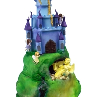 Fairyland Hill Top Cake With Dragon  Rather large design 28 inches high, covered in fondant, airbrushing for a more realistic effect, hand made faeries, dragon, mermaids and...
