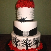 Halloween/goth Wedding My entry for the North Carolina 2011 State Fair. Won blue ribbon in Fondant/Gumpaste cakes. Wanted to do something not so traditional. :)...