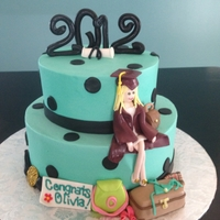 Graduation Cake For Fashionista Graduate with all of her favs....Iced in buttercream with fondant and gumpaste accents.