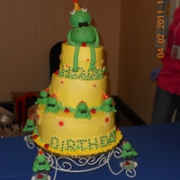 Hoppy Birthday This was for a birthday cake competition. It was my first time making an edible fondant topper. The big frog was cake covered it fondant....
