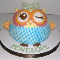"Owl Smash Cake Made to match party plates. Stands about 4"" tall."