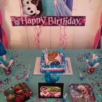 Frozen Theme Birthday Cakebc Airbrushing Candy Melts Colored Sugar Beaded Candy Cake Three Tones Inside Color *Frozen Theme birthday cake...Bc, Airbrushing, Candy melts, colored sugar, beaded candy, cake three tones inside color