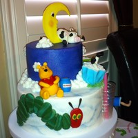 Children's Books 6 inch offset on 9 inch base. Buttercream cake and clouds, fondant characters. Gelatin cup. I made this cake for a good friend whose baby...