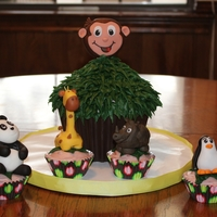 Curious George Goes To The Zoo Giant cupcake pan, chocolate base. Fondant animals and george.