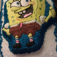 Sponge Bob Made with a Sponge Bob cake mold. Placed on a full sheet.