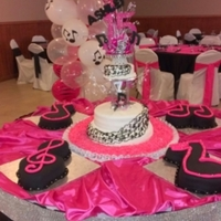 Middle Three Tear Cake Covered With Satin Ice And Piped Musical Notes Around The Cake From Top To Bottom With Frosting Plate Covered With Middle three tear cake. Covered with satin ice and piped musical notes around the cake from top to bottom with frosting. Plate covered with...