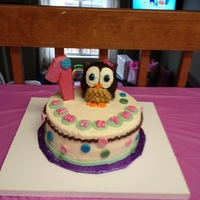 1St Birthday Owl So seeing it now I wish I had smoothed the cake better. The number 1 is a cookie the buttons are from the Wilton mold.