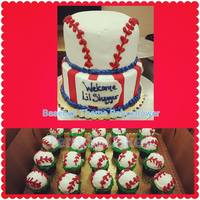 Baby Shower Cake baseball theme babyshower cake with matching cupcakes