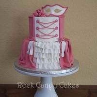 "Bodice Cake 6/8"" ruffled skirt, gumpaste mask and ribbon roses. This was the sample piece for a demo I did for a CCC meeting. TFL."