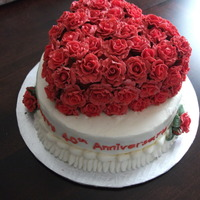 40Th Anniversary   buttercream with fondant roses.