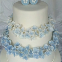Blue Hydrangea Baby Shower This was for the baby shower of my son's kindergarten teacher. The original design was from a stunning pink hydrangea wedding cake...