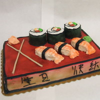 Sushi Cake This is a single layer vanilla cake, covered in butter cream, and airbrushed. The sushi rolls are made of cupcakes covered in buttercream...