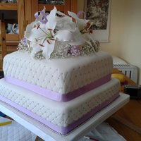 Stargazer Lillies First ever wedding cake. Made the lillies and roses but real gypsophilli.