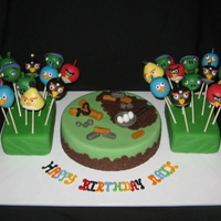 Angry Birds Cake And Cake Pops All of the detail on the cake pops was made by either fondant or chocolate. the small cake in the center is done with fondant. the cake...