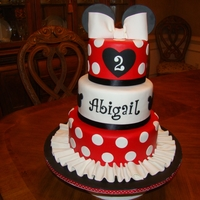 Abigail's Minnie Mouse Cake 10,8 & 6 inch round tiers covered in fondant. Gumpaste bow and fondant decorations.