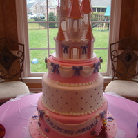 "Princess Abigail's Cake 12, 10, & 8"" inch rounds. Castle is made of styrofoam and painted with luster dust. Thanks for looking."