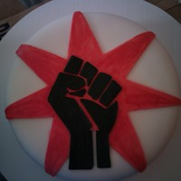 Union Fist A customer requested this cake for Labor Day. Red Velvet w/ raspberry filling and cream cheese frosting. TFL!