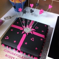 Pink & Black Engagement Cake