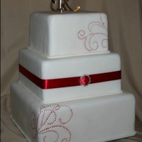 Red Scroll Wedding Cake