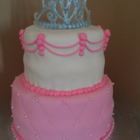 Princess Birthday Cake With Quilting And Royal Icing Crown Princess birthday cake with quilting and royal icing crown.