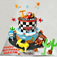 Cars Themed Cake RKT covered in fondant for the cars with fondant accents