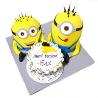 Despicable Me 2 Minions With Banana Birthday Cake fondant covered cakes with fondant accents