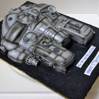 Millenium Falcon Star Wars 1/4 sheet carved, covered in fondant, airbrushed