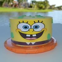 "Spongebob 5"" vegan cake for a boy with allergies. He had to have Spongebob."