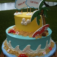 "Luau   8"" , 5"" WASC with buttercream."