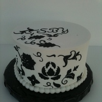 "Damask WASC 7"", lemon mouse filling, buttercream. My first attempt at Damask."