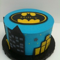 "Batman 7"" WASC with buttercream dream frosting. Fondant accent. Whipped cheesecake flavored filling. 3 layers.Inspired by many ideas from..."