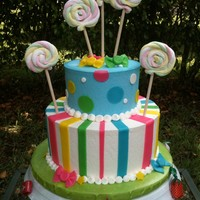 "Candy Themed Cake 8"" ,5"" WASC. Buttercream dream frosting and all fondant accents. The lollipops are rolled Marshmallow twists on wood dowels."