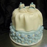 Baby Boy Blue This is a baby shower cake. Shoes are gumpaste made with the pattern in the gallery.